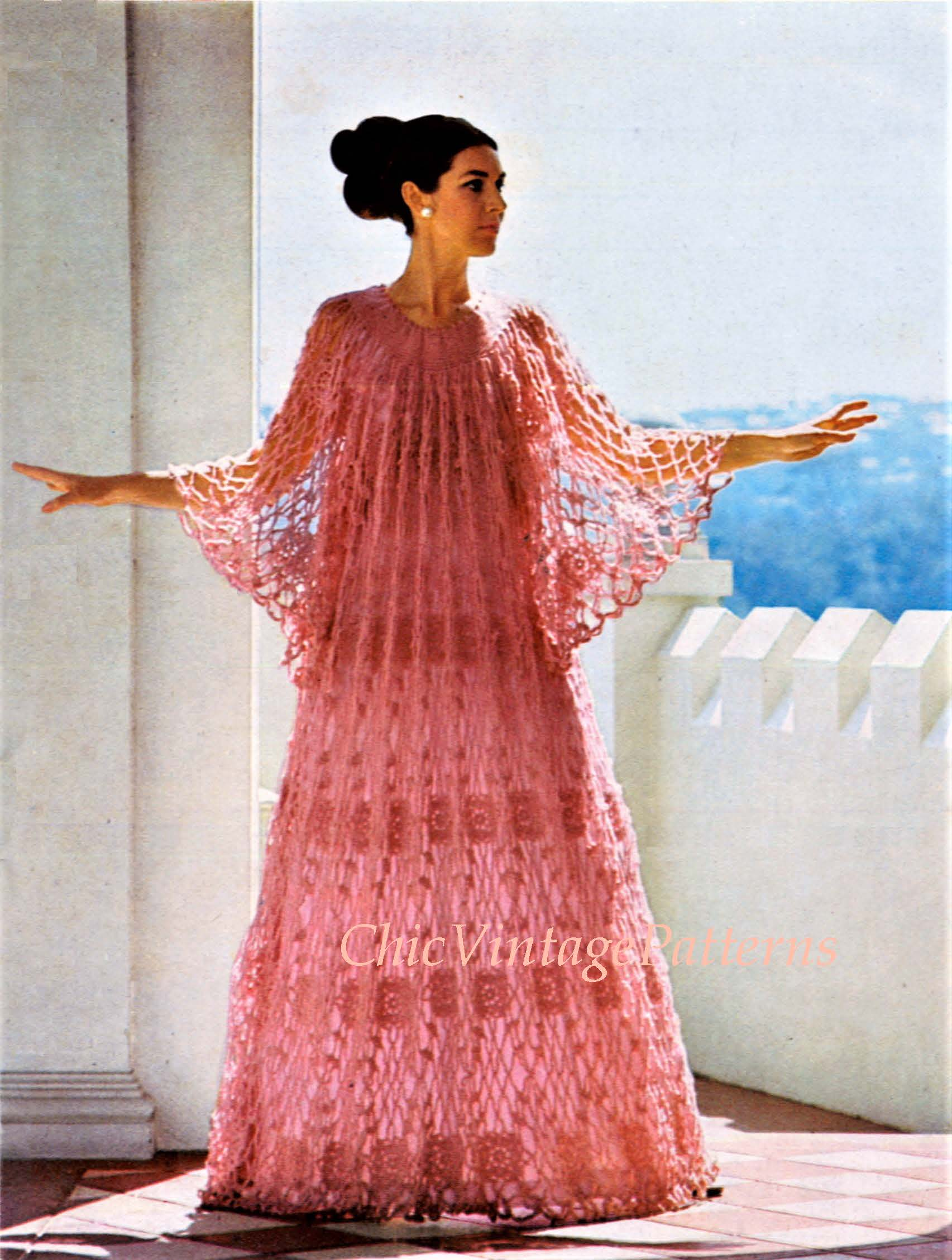 Crochet Ladies Caftan Pattern, Lacy Motif Dress, Instant Download