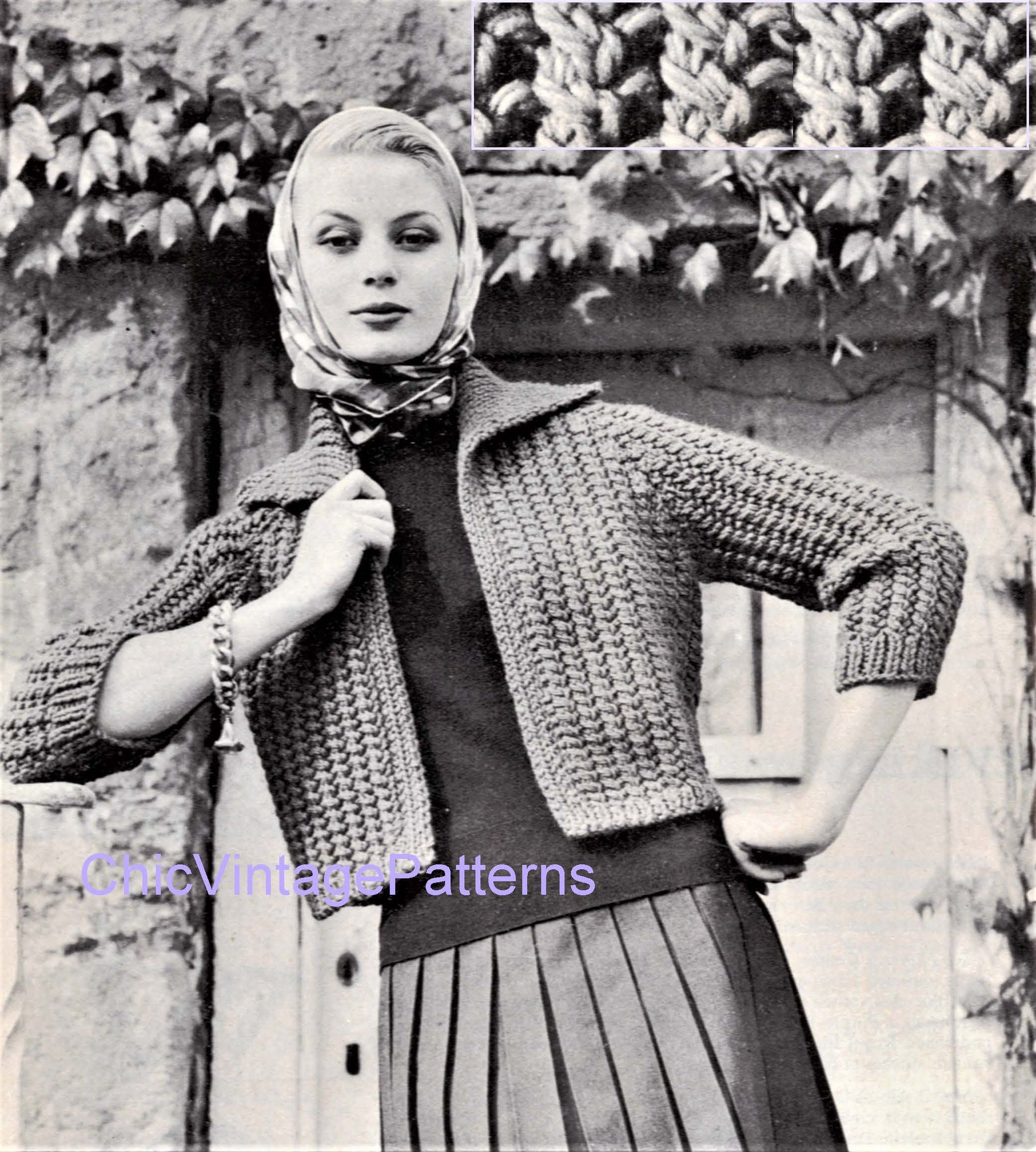 Ladies Cropped Jacket Pattern, Easy, Fast Knit, Instant Download