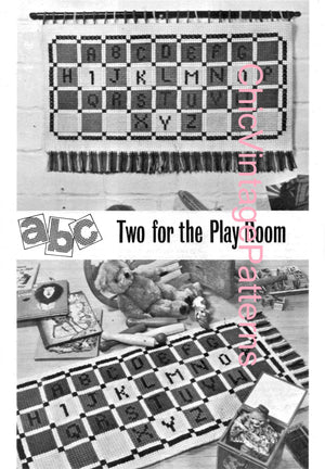 Cross Stitch Nursery Floor Rug and Wall Panel, Instant Download