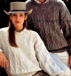 Ladies and Men's Knitted Sweater Pattern, Instant Download