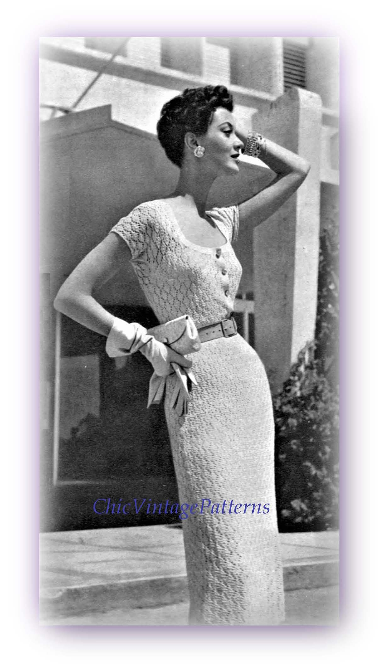 Ladies Knitted Dress Pattern, Elegant Knitted Lace Dress, Digital Pattern