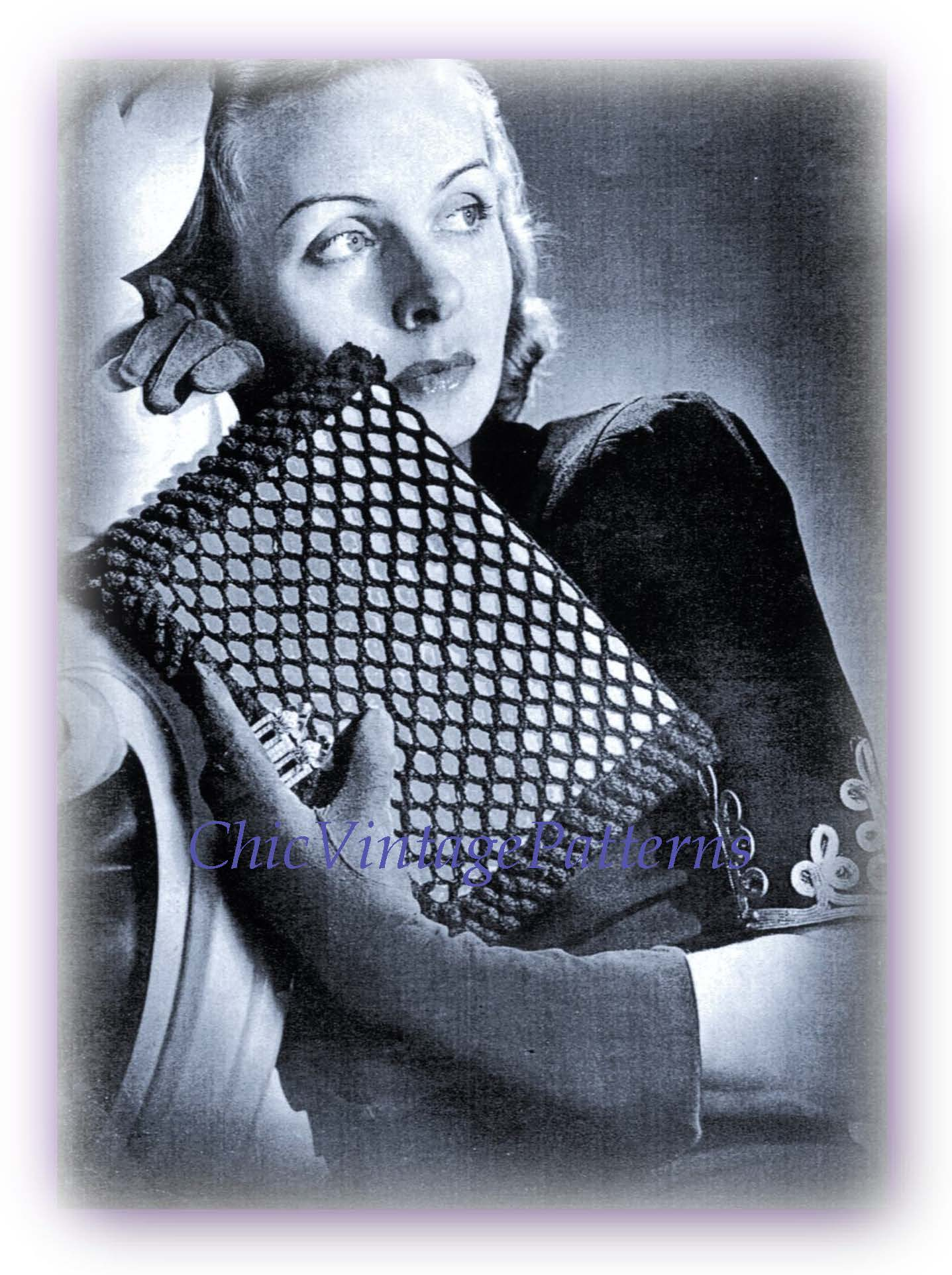 1940's Handbag Crochet Pattern, Ladies Clutch Bag, Envelope Purse, Digital Pattern