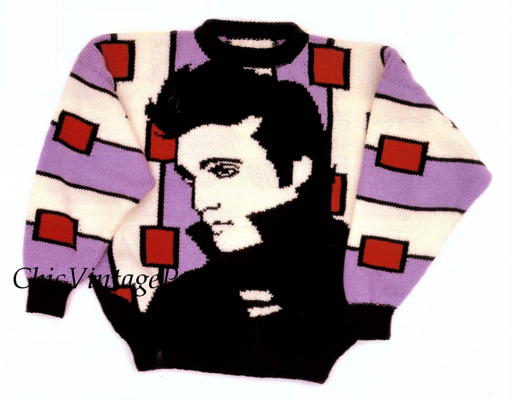 Elvis Presley Knitted Jumper Pattern, Fun Knitting Pattern, Instant Download