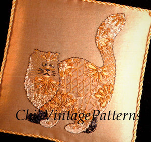 Embroidery Pattern, Cat Wall Hanging or Cushion Cover, Digital Pattern