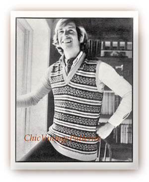 Men's Vest Knitting Pattern, Vintage Fair Isle Sleeveless Vest, Instant Download