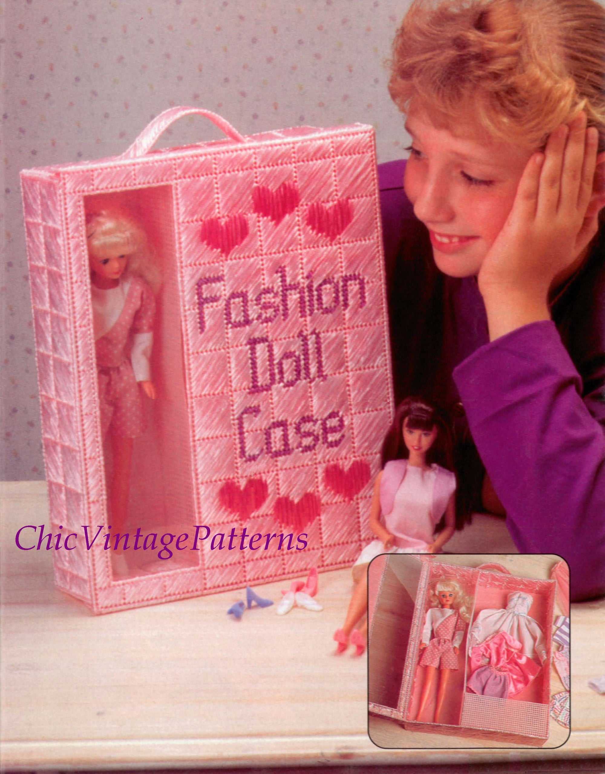 Digital Pattern, Plastic Canvas Fashion Doll Carrying Case