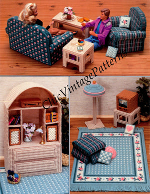 Plastic Canvas Fashion Doll Living Room Pattern, Digital Download