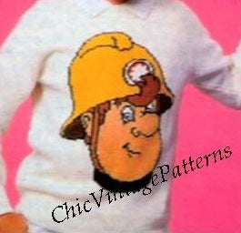 Fireman Sam Knitted Sweater Pattern, 6 Sizes, Digital Download