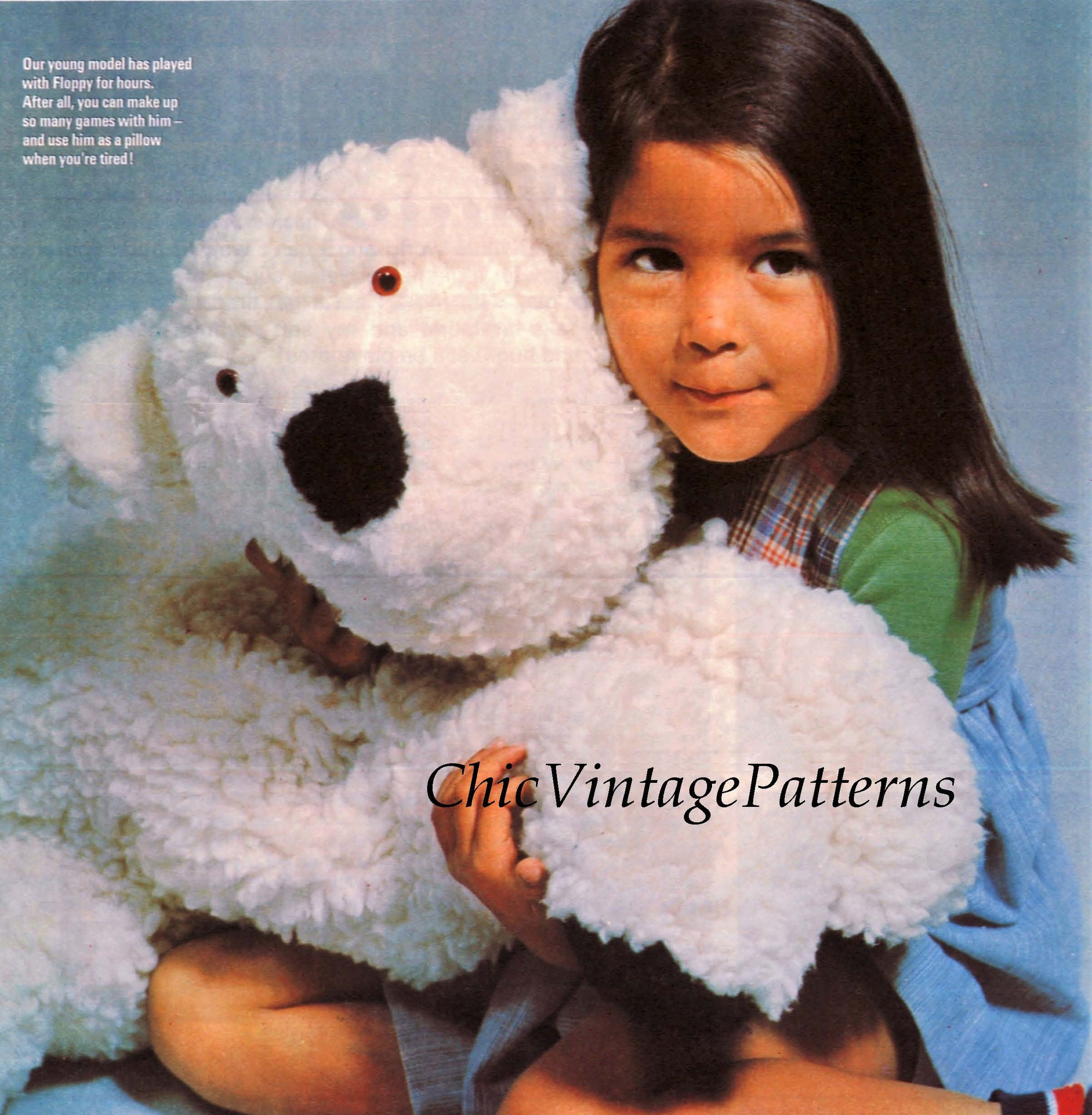 Large Polar Bear Sewing Pattern, Floppy Soft Toy, Instant Download