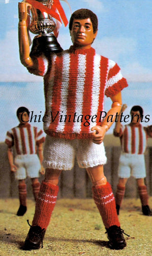 Knitted Doll's Clothes Pattern, Football Kit, Ken Doll Size, Instant Download