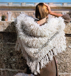 Crochet Shawl Pattern, Furry Wrap, Retro Shawl, Instant Download