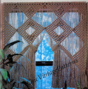 Macrame Window Curtain Pattern, Vintage Macrame, Instant Download