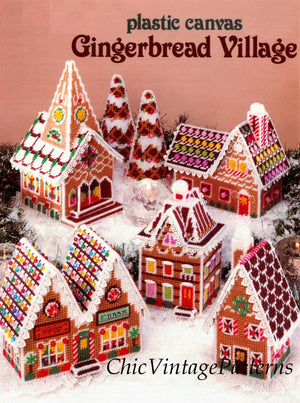 Plastic Canvas Gingerbread Village Pattern, Christmas Decoration, Instant Download