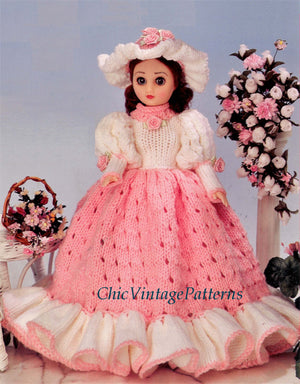 Doll's Dress Knitting Pattern, Pretty Period Gown, 15 inch Doll, Instant Download
