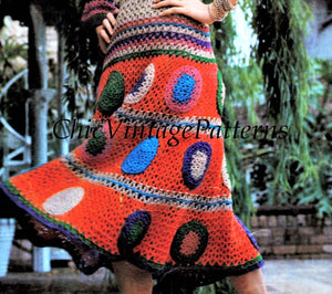 Crochet Ladies Dress Pattern, Gypsy Style, Digital Download