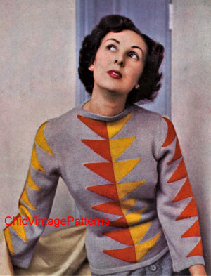 Ladies Knitted Sweater Pattern, Vintage 1940's, Digital Download