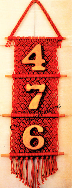 Macrame House Number Pattern, Easy Pattern, Instant Download