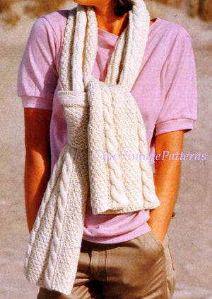 Knitted Hat and Scarf Pattern, Cable and Irish Moss Stitch, Instant Download