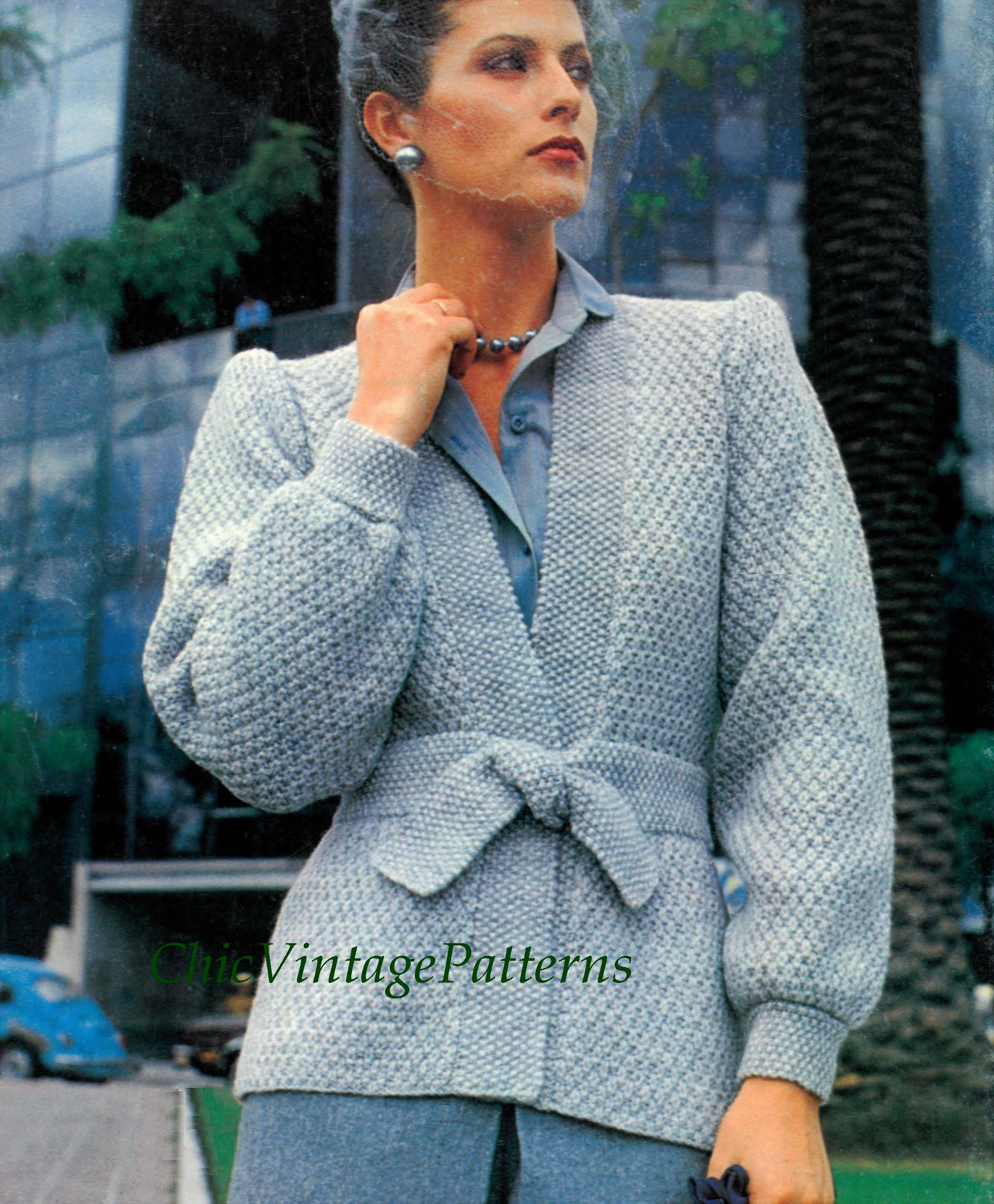 Knitted Ladies Jacket Pattern, Elegant Tie Waist, Instant Download
