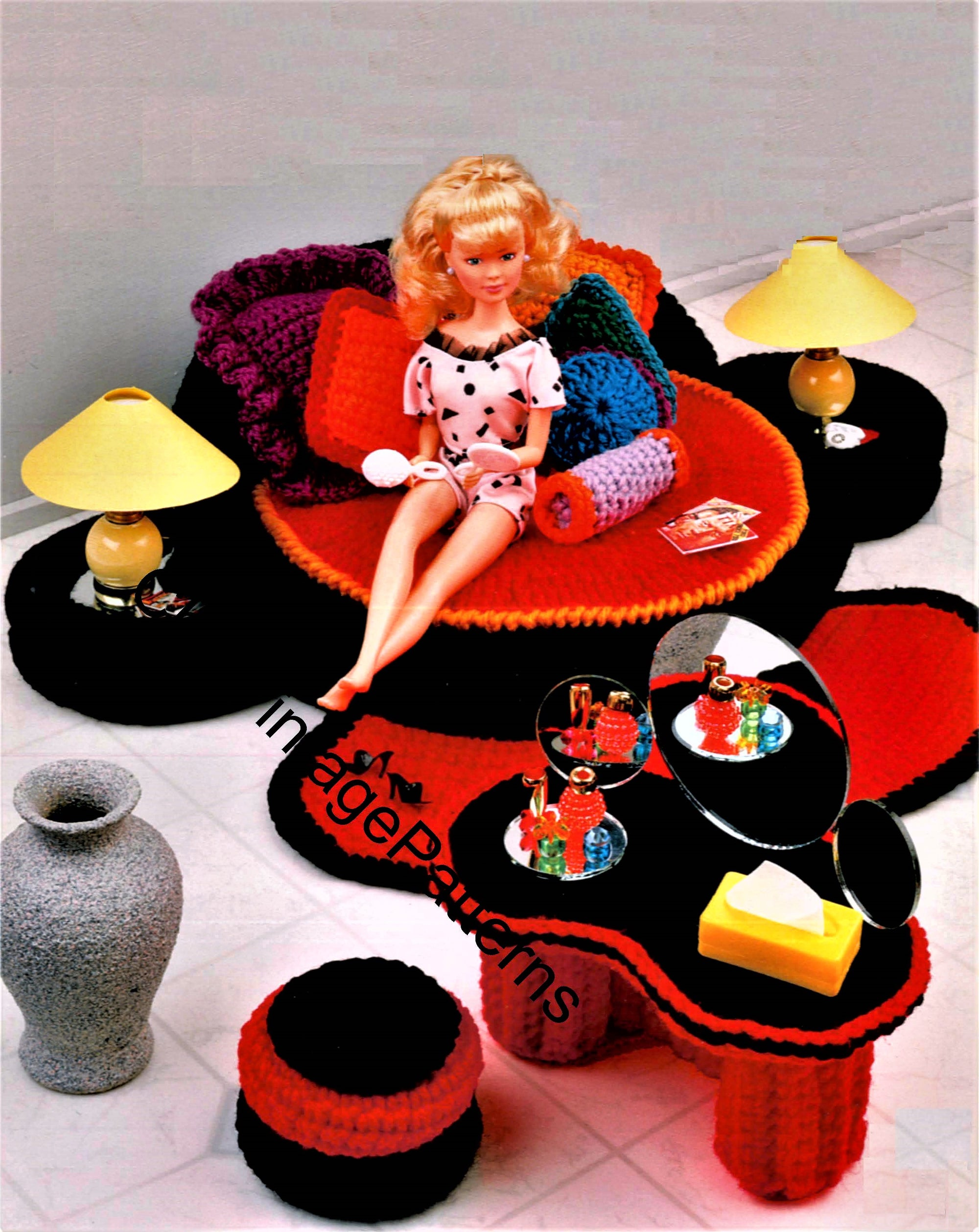 Dolls House Pattern, Crochet Bedroom Furniture, 11.1/2 inch Doll, Instant Download