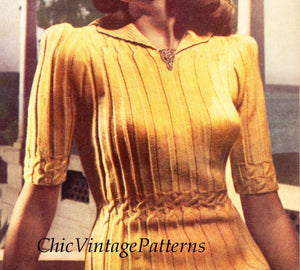 Ladies Knitted Sweater Pattern, Vintage 1945, Very Stylish, Digital Download