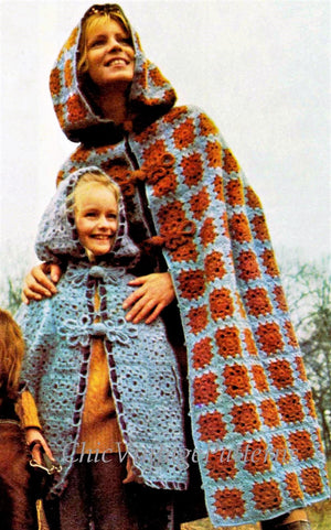 Crochet Cloak Pattern, Ladies Granny Square Pattern, Instant Download