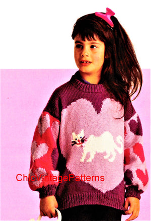 Girl's Heart and Cat Knitted Jumper Pattern, Digital Download