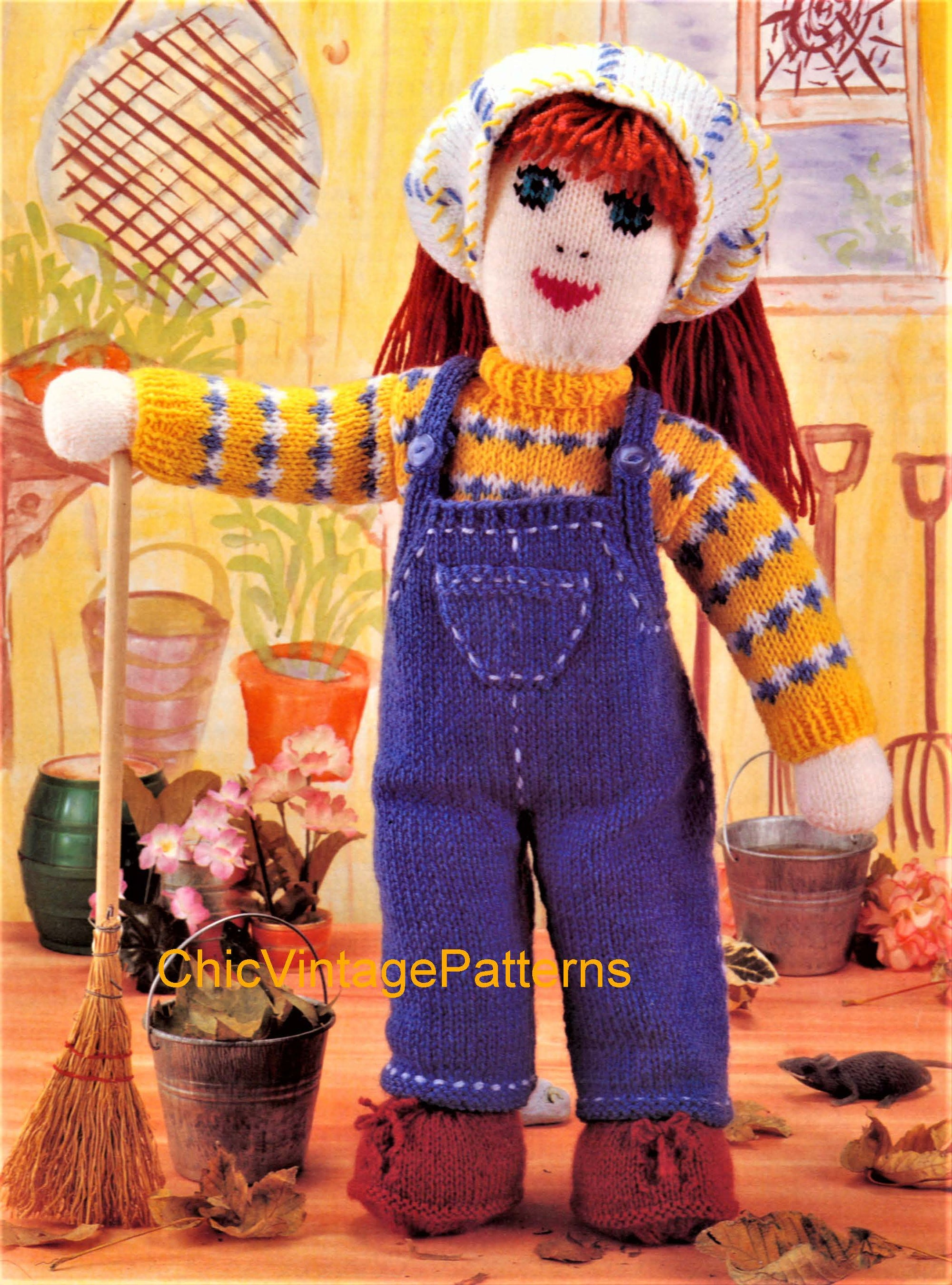 Gardener Doll Knitting Pattern, Soft Toy Doll Pattern, Instant Download