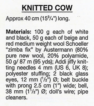 Knitted Cow Pattern, Soft Toy, Digital Download, Farmyard Animal