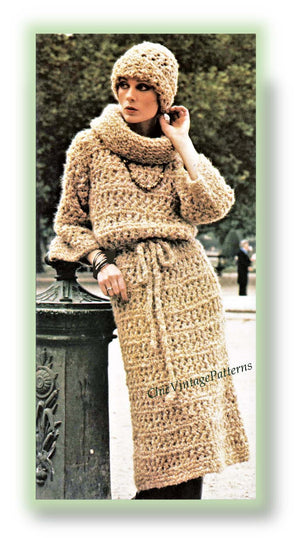 Ladies Dress and Hat Knitting Pattern, Instant Download Pattern