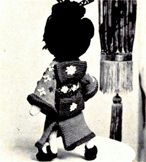 Knitted Geisha Doll Pattern, Soft Toy Pattern, Instant Download