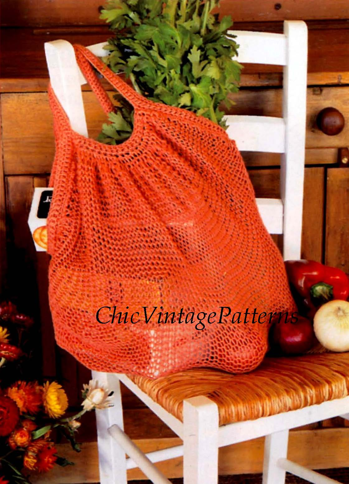 Knitted String Bag Pattern, Shopping Bag, Instant Download Pattern