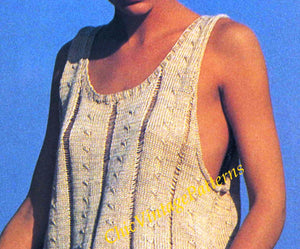 Knitted Ladies Singlet Pattern, Vintage Vest Beach Top, Digital Download
