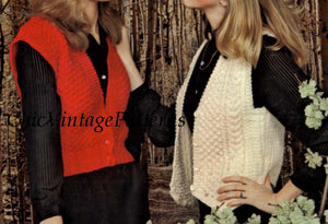 Ladies Knitted Vests, Two Patterns, Aran and Blouson Style, Instant Download