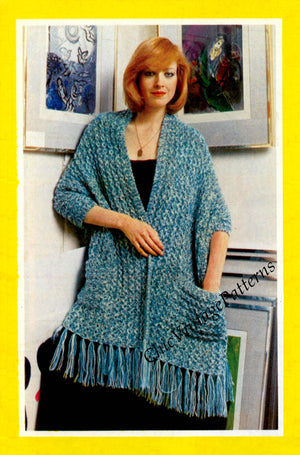 Ladies Knitted Wrap Pattern, Knitted Fringed Shawl, Digital Download