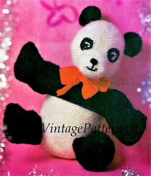 Knitted Panda Pattern, Large Panda Soft Toy, PDF Knitting Pattern