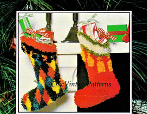 Christmas Stocking Latch Hook Pattern, 2 Designs, Instant Download