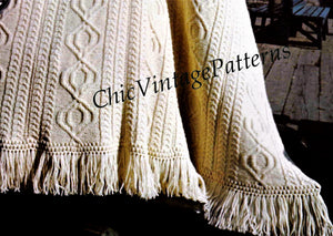 Knitted Afghan Rug Pattern, Irish Fisherman's Afghan, Digital Download