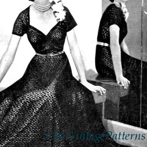 1940's Knitted Dress, Long or Short, Stunning, Digital Download