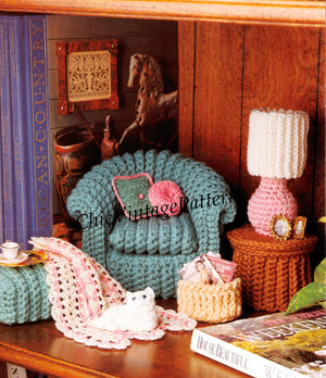 Dolls House Pattern, Crochet Living Room Furniture, 11.1/2 inch Doll, Instant Download