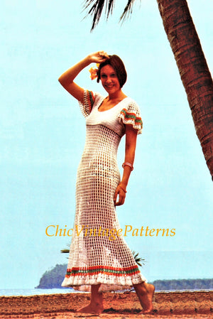 Crochet Dress Pattern, Ladies Summer Dress and Pants, Digital Download