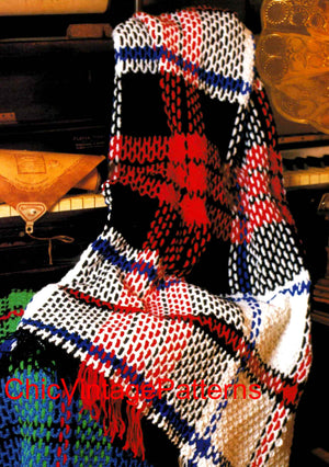 Tartan Afghan Rug Crochet Pattern, Instant Download, Easy-To- Make
