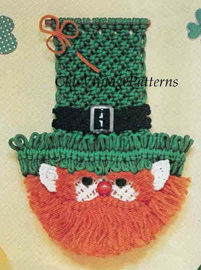 Macrame Leprechaun Pattern,  Wall Hanging,  Digital Pattern,