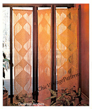 Macrame Folding Screen Pattern, Room Divider, Home Decor, Instant Download