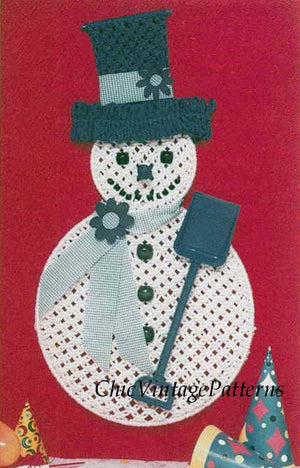 Christmas Wall Hanging, Macrame Snowman Pattern, Digital Download