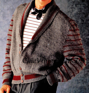 Men's Jacket Knitting Pattern, Generous Fit, Instant Download