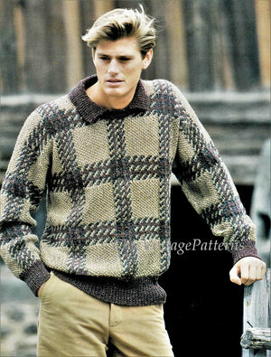 Knitted Mens Sweater, Interesting Check Design, Classic Sweater, Digital Pattern
