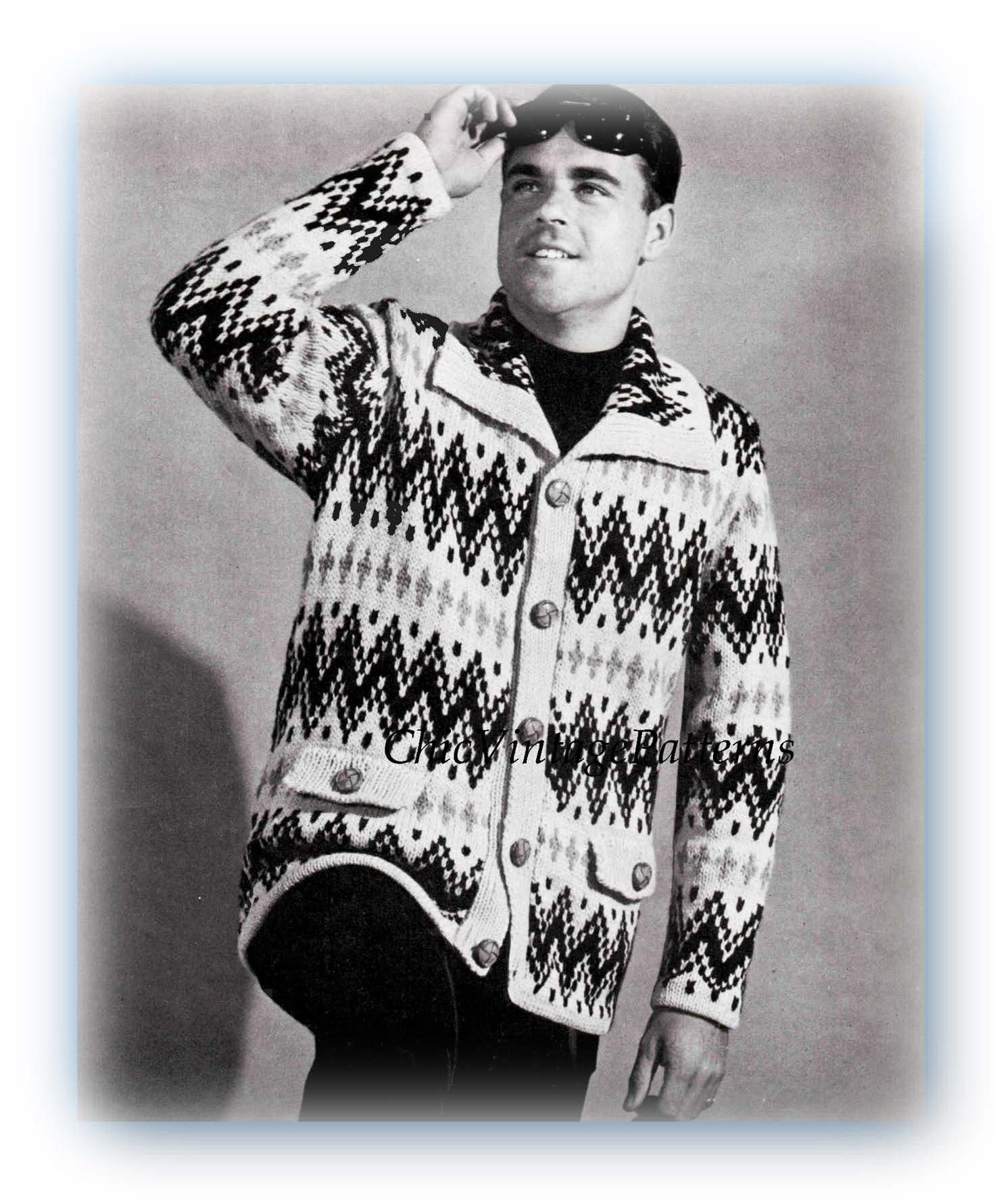 Knitted Men's Jacket Pattern, Fair isle Men's Cardigan, Instant Download