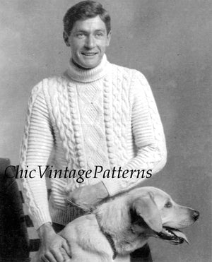 Mens Knitted Sweater, Traditional Aran Pattern