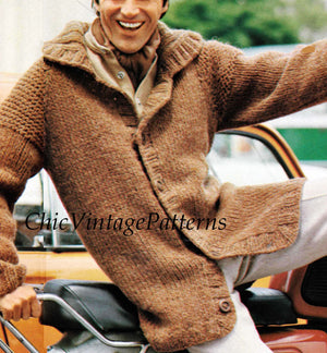 Easy Knit Men's Cardigan Pattern, Instant Download, Quick Knit